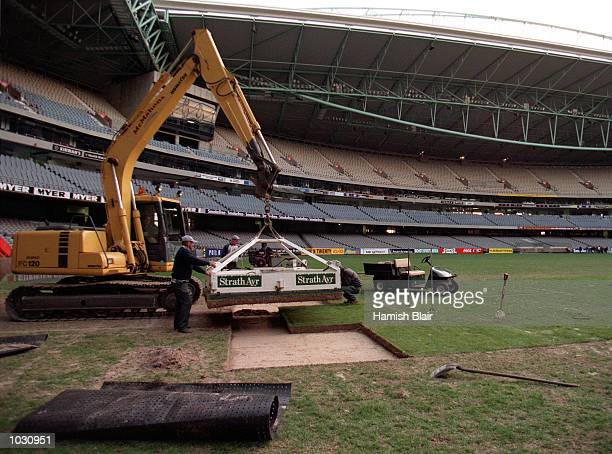 Ground staff change a square of turf on the stadium surface at Colonial Stadium Melbourne Australia Mandatory Credit Hamish Blair/ALLSPORT