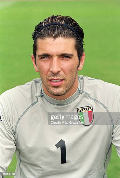 Headshot of Gianluigi Buffon of Italy during the Italian national team squad training held at the National Team Headquarters in Coverciano Florence...