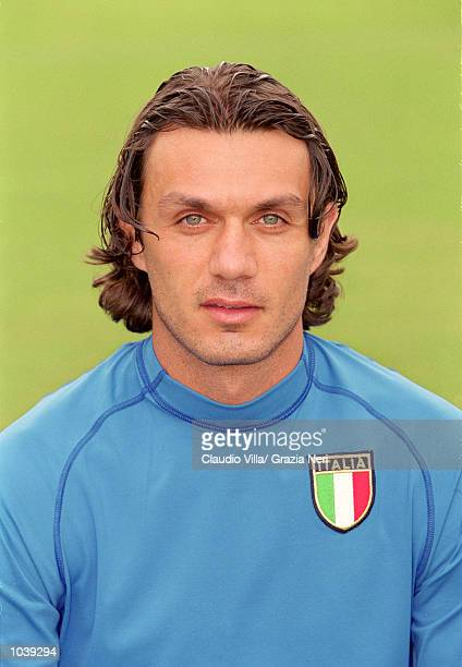 Headshot of Paolo Maldini of Italy during the Italian national team squad training held at the National Team Headquarters in Coverciano Florence...