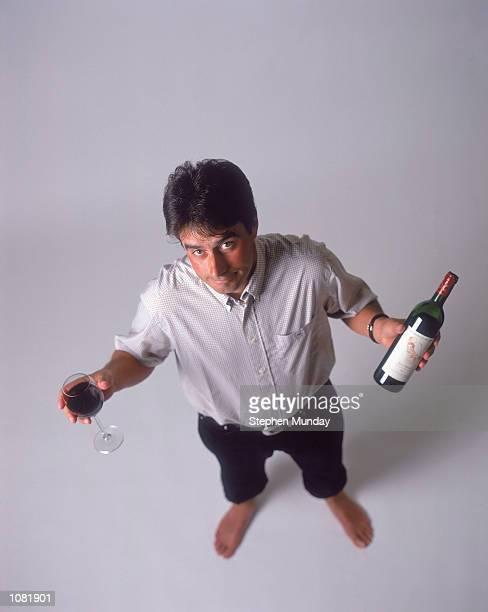 Jean Van de Velde of France poses with his own Label Red Wine Mandatory Credit Stephen Munday /Allsport