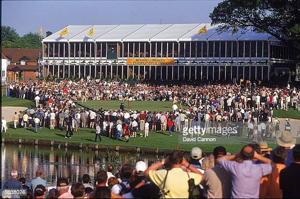 Jose Maria Olazabal of Spain putting on the 18th during the Benson & Hedges International Open played on the Brabazon Course at the Belfry Golf Club,...
