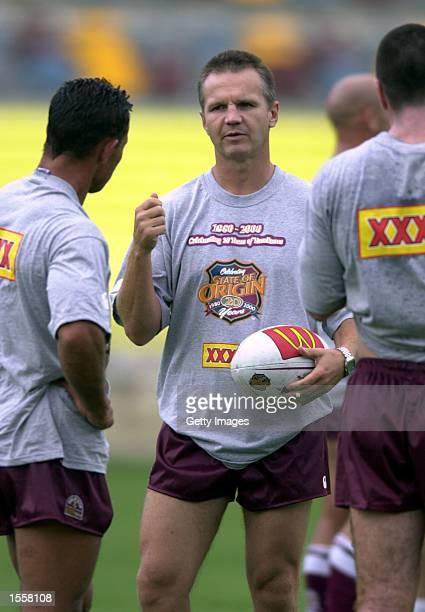 Mark Murray of Queensland talks tactics with Adrian Lam at training for the Queensland State of Origin team at ANZ Stadium in Brisbane Australia...