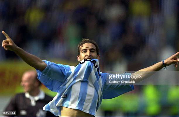 Moustapha Hadji of Coventry celebrates making it 41 during the FA Premiership game between Coventry City and Sheffield Wednesday at Highfield Rd...