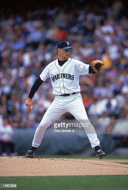 Pitcher Aaron Sele of the Seattle Mariners winding up during a game against the Tampa Bay Devil Rays at the Safeco Field in Seattle Washington The...