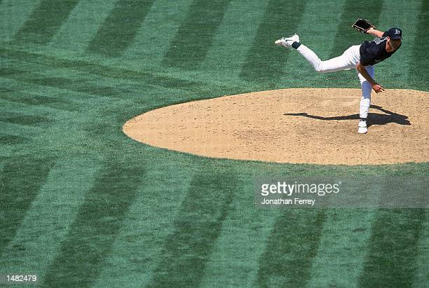 Pitcher Tim Hudson of the Oakland Athletics in action after throwing a pitch during the game against the Minnesota Twins at the Network Associates...