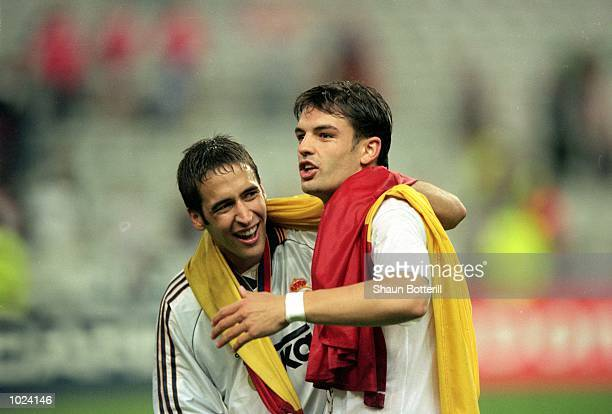 Raul and Fernando Morientes of Real Madrid celebrate after the European Champions League Final 2000 against Valencia at the Stade de France...