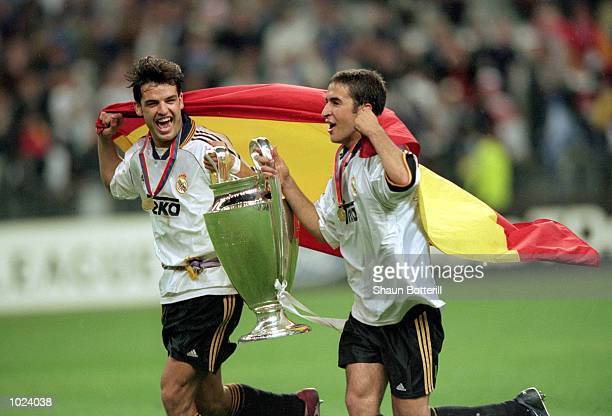 Real Madrid's Fernando Morientes and Raul celebrate victory after the European Champions League Final 2000 against Valencia at the Stade de France...