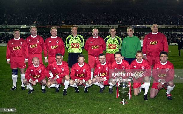 The European Cup Winning Nottingham Forest team lineup before the Mark Crossley Testimonial match between Mark Crossley XI and Derby County XI at the...
