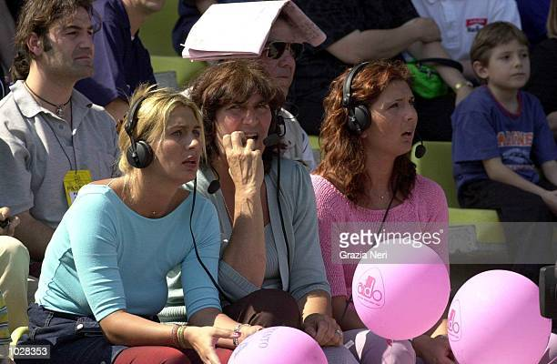 The Family of Gianluigi Buffon of Parma listen to other games in progress during the Serie A match betwen Parma and Lecce at the Ennio Tardini...