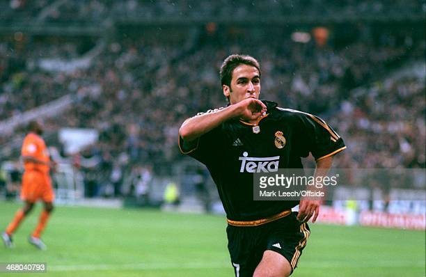 24 May 2000 UEFA Champions League Final Real Madrid v Valencia Raul Gonzalez of Real Madrid celebrates scoring his goal and Madrid's third