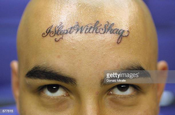 A fan of Shaquille O''Neal dared to tattoo I slept with Shaq on his forehead He received 2 floor seats from radio station Power 106 to game three of...