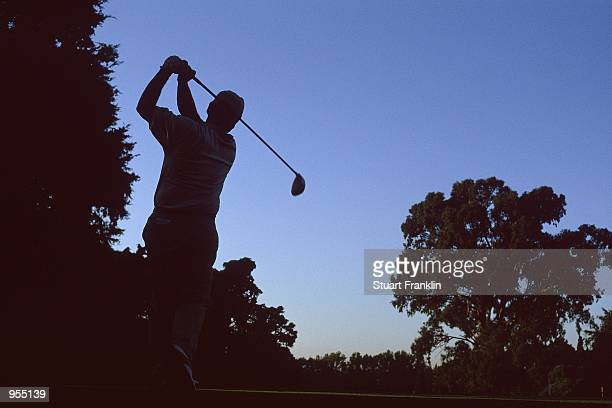 Silhouette of a golfer in action during the Open De Argentina at The Jockey Club, Buenos Aires, Argentina. \ Mandatory Credit: Stuart Franklin...