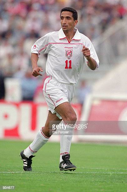 Adel Selimi of Tunisia in action during the World Cup 2002 Group D Qualifying match against Ivory Coast played at the El Menzah Stadium in Tunis...