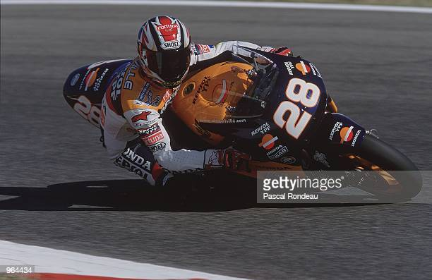 Alex Criville of Spain puts his Repsol Honda through its paces during the 500cc Motorcycle Grand Prix at Circuit De Catalunya in Barcelona Spain...