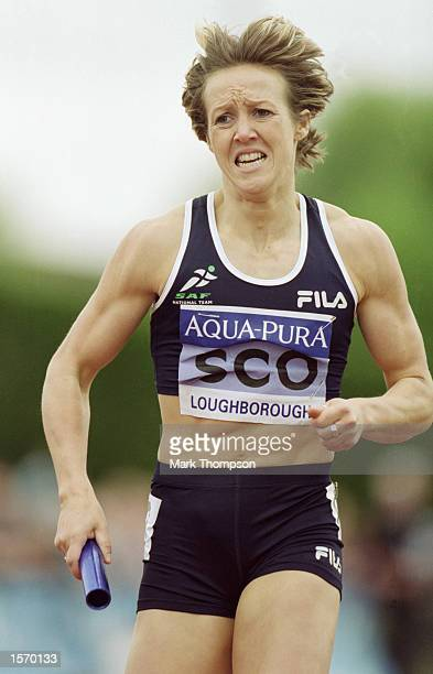 Allison Curbishley of England in action in the 4x400m during the Aqua Pura International meeting held at Loughborough University in Loughborough...