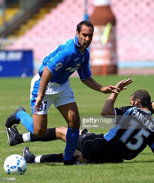 Alves Edmundo of Napoli and Giuseppe Pancaro of Lazio in action during the Serie A 30th Round League match between Napoli and Lazio played at the San...