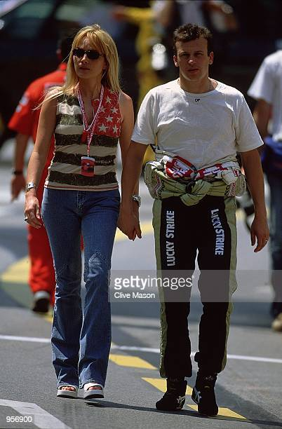 BAR Honda driver Olivier Panis of France takes time out with his wife Anne before the Formula One Monaco Grand Prix in Monte Carlo Monaco Mandatory...