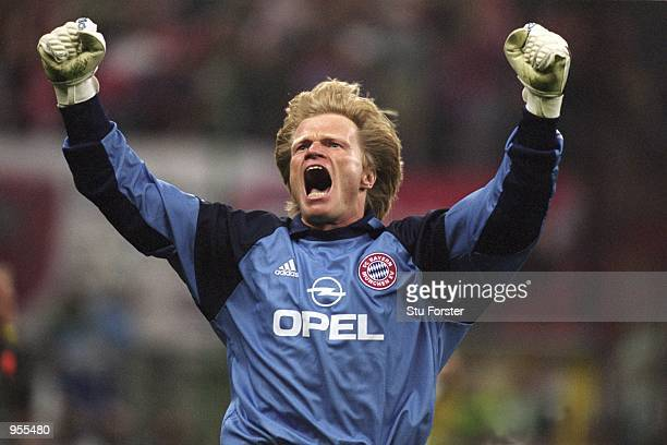 Bayern Munich Goalkeeper Oliver Kahn celebrates saving the decisive penalty during the Uefa Champions League Final between Bayern Munich and Valencia...