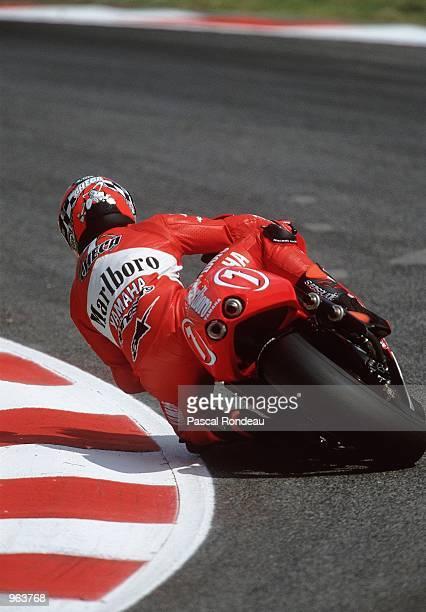 Carlos Checa of Spain in action on his Marlboro Yamaha during the 500cc Motorcycle Grand Prix at Circuit De Catalunya in Barcelona Spain Mandatory...