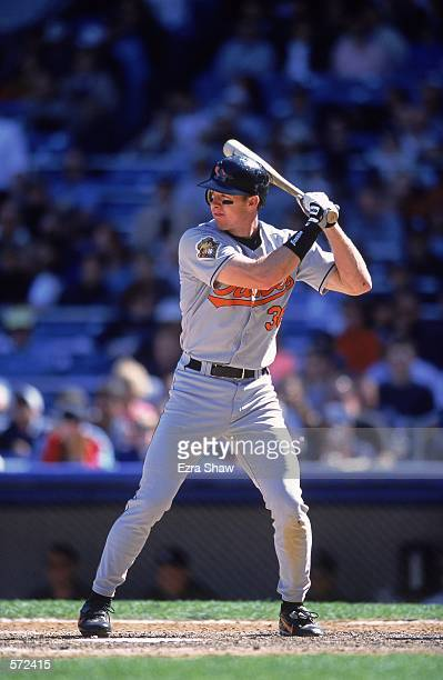 Chris Richard of the Baltimore Orioles stands ready at bat during the game against the New York Yankees at Yankee Stadium in Bronx, New York. The...