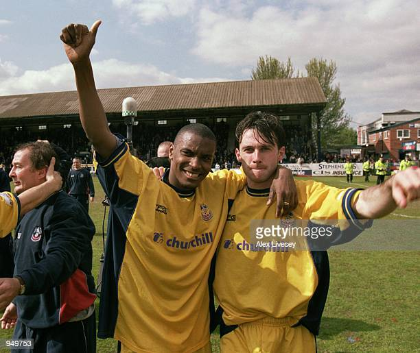 Crystal Palace players Clinton Morrison and Dougie Freedman celebrate after the Nationwide League Division One match against Stockport County played...