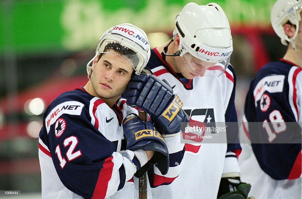 Dejection for the USA team after the IIHF World Ice Hockey Championships defeat against Finland played at the Preussag Arena in Hannover, Germany. \ Mandatory Credit: Stuart Franklin /Allsport
