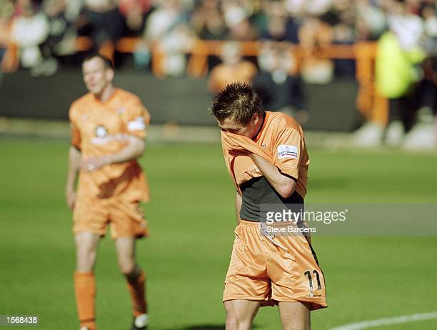 Despair for Darren Currie of Barnet as he faces up to relegation after the Nationwide League Division Three match against Torquay United played at...