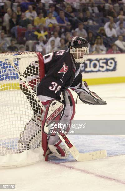 Dominik Hasek of the Buffalo Sabres defends his goal against the Pittsburgh Penguins during game 6 of the Eastern Conference Semi Finals of the...