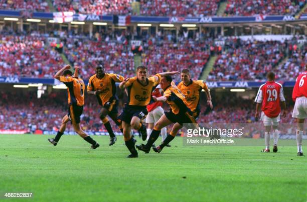 12 May 2001 FA Cup Final Arsenal v Liverpool Michael Owen of Liverpool celebrates with teammates Markus Babbel Emile Heskey Robbie Fowler and Steven...