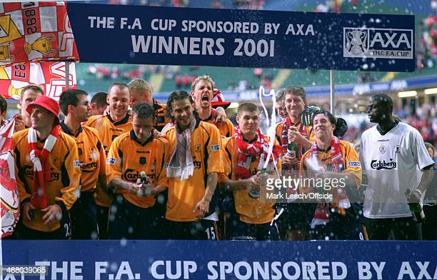 12 May 2001 FA Cup Final Arsenal v Liverpool Steven Gerrard of Liverpool opens the bottle of champagne after winning the FA Cup at the Millennium...