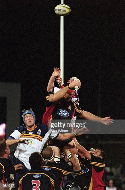 General action of a line-out during the Super 12 match played between the ACT Brumbies and the Chiefs held at Bruce Stadium, Canberra. Australia....