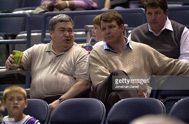 General manager Jerry Krause and coach Tim Floyd of the Chicago Bulls take in game 2 of the Charlotte Hornets at Milwaukee Bucks NBA semifinal...