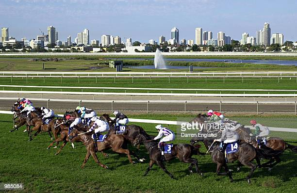 General view of the Prime Minister's Cup with the Gold Coast skyline in the background at the Gold Coast Turf Club on the Gold Coast Australia The...