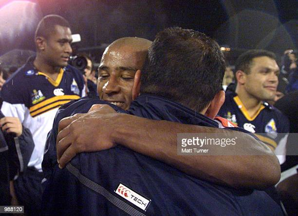 George Gregan and Eddie Jones of the ACT Brumbies hug one another after the Super 12 Final between the ACT Brumbies and the Sharks of South Africa...