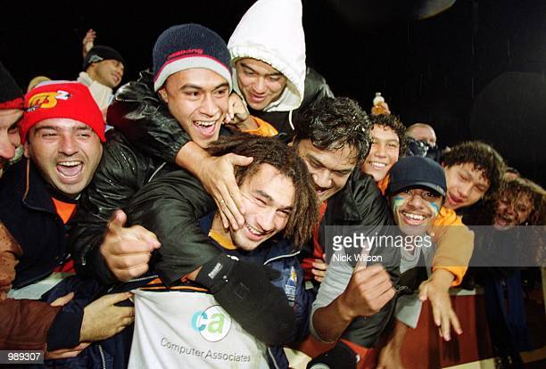 George Smith for the Brumbies is congratulated by the crowd after defeating the Sharks during the 2001 Super 12's Rugby Final played between the ACT...