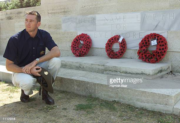 Glenn McGrath of Australia looks on after laying a wreath at a memorial at Anzac Cove, during the Australian team's visit to Gallipoli, on their way...
