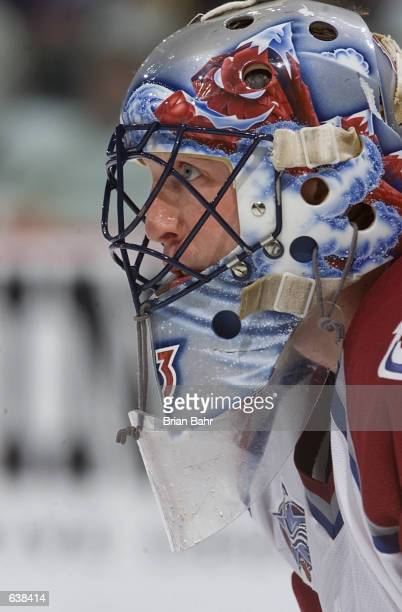 Goalie Patrick Roy of the Colorado Avalanche prepares for a faceoff against the Los Angeles Kings in the third period of Game 7 of the Western...