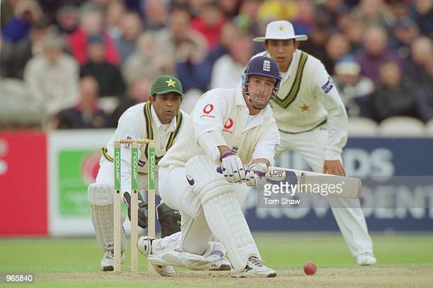 Graham Thorpe of England in action during the NPower sponsored Second Test match against Pakistan played at Old Trafford in Manchester England...