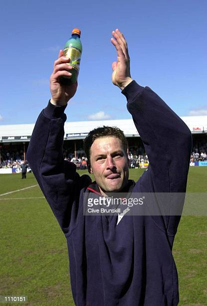 Grimsby Town captain Paul Groves celebrates at the end of the match after scoring the winning goal against Fulham during the Nationwide First...