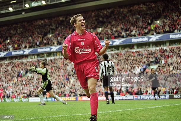 Hattrick hero Michael Owen of Liverpool celebrates during the FA Carling Premiership match against Newcastle United played at Anfield in Liverpool...