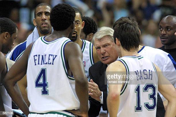 Head coach Don Nelson of the Dallas Mavericks coaches his team to a 112108 victory over the San Antonio Spurs in Game 4 of the second round of the...