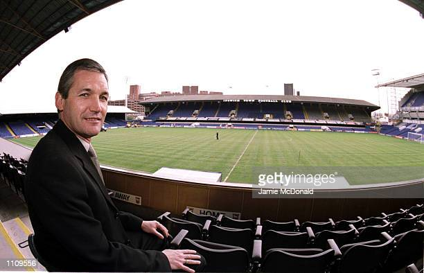 Ipswich Town manager George Burley sits in the stands during a press conference chaired by Chairman David Sheepshanks to announce that he has agreed...