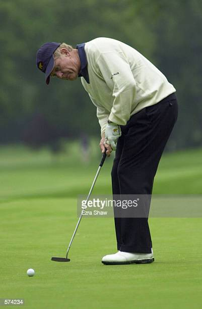 Jack Nicklaus of North Palm Beach, Florida, putts the ball on hole 9 during day two of the 62nd Senior PGA Championship at The Ridgewood Country Club...