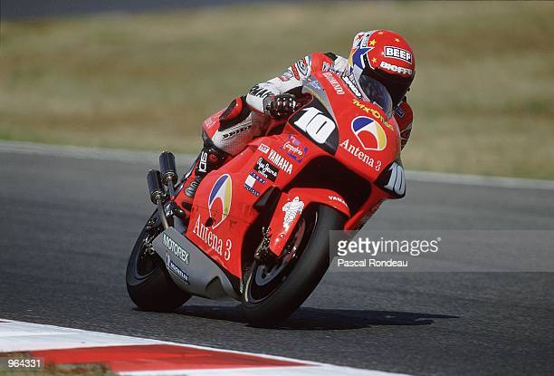 Jose Luis Cardoso of Spain in action on his Antena 3 Yamaha during the 500cc Motorcycle Grand Prix at Circuit De Catalunya in Barcelona Spain...