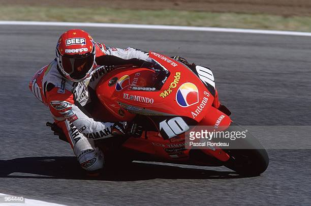 Jose Luis Cardoso of Spain puts his Antena 3 Yamaha through its paces during the 500cc Motorcycle Grand Prix at Circuit De Catalunya in Barcelona...