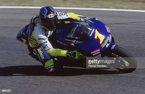 Kenny Roberts of USA in action on his Telefonica Suzuki during the 500cc Motorcycle Grand Prix at Circuit De Catalunya in Barcelona Spain Mandatory...