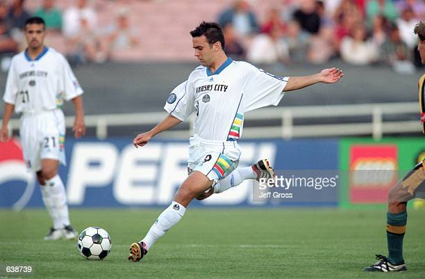 Kerry Zavagnin of the Kansas City Wizards kicks the ball during the game against the Los Angeles Galaxy at the Rose Bowl in Pasadena California The...