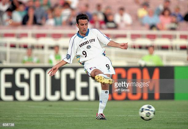 Kerry Zavagnin of the Kansas City Wizards passes the ball during the game against the Los Angeles Galaxy at the Rose Bowl in Pasadena California The...