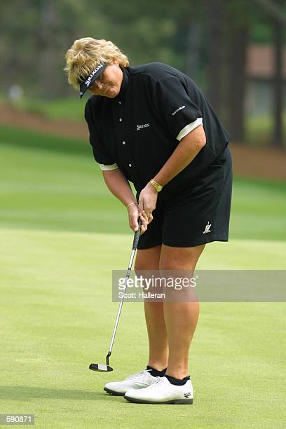 Laura Davies of England hits a shot at Pine Needles Lodge Golf Club during the first round of the 2001 US Women's Open in Southern Pines North...