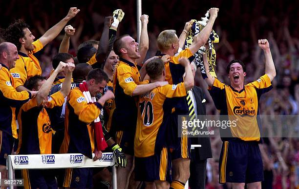 Liverpool celebrate winning the AXA sponsored 2001 FA Cup Final between Arsenal v Liverpool at the Millennium Stadium CardiffDIGITAL IMAGE Mandatory...